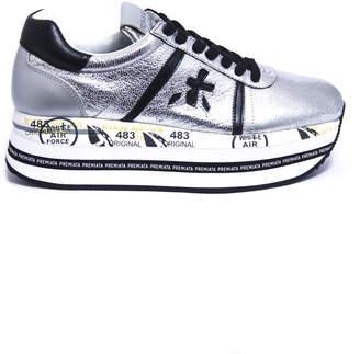 Premiata Beth Sneakers In Silver-finish Satin Leather