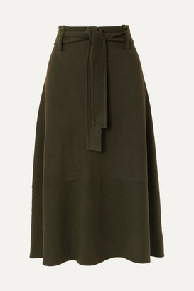 Vince Belted Wool-blend Midi Skirt - Army green
