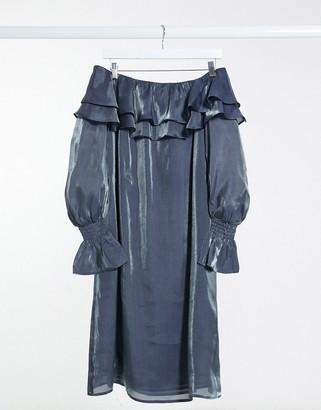 ELVI metallic bardot dress in silver