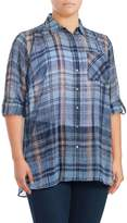 Vince Camuto Plus Plaid Button-Front Blouse