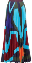 Mary Katrantzou Pelar Pleated Printed Crepe De Chine Maxi Skirt - Royal blue