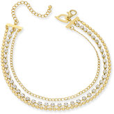 Thalia Sodi Gold-Tone Crystal Three-Row Choker Necklace, Only at Macy's