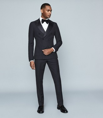 Reiss Home - Linen Blend Double Breasted Tuxedo Blazer in Navy