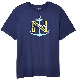 Nautica Big Tall Anchor Outlined N Direct Print T-Shirt (J Navy) Men's T Shirt