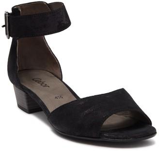 Gabor Leather Ankle Strap Stack Heel Sandal