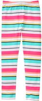 Gymboree Turquoise & Coral Stripe Leggings - Girls