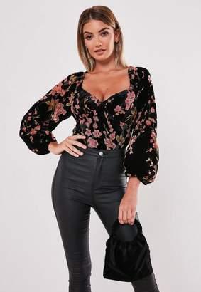 Missguided Petite Black Velvet Floral Devore Milkmaid Bodysuit