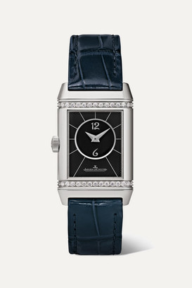 Jaeger-LeCoultre Jaeger Lecoultre Reverso Classic Duetto 21mm Small Stainless Steel, Alligator And Diamond Watch - Silver