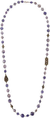Bavna Long Iolite and Diamond-Station Necklace