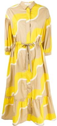 Parker Chinti & wave-print drawstring-waist shirt dress