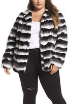 Junarose Stripe Faux Fur Jacket (Plus Size)