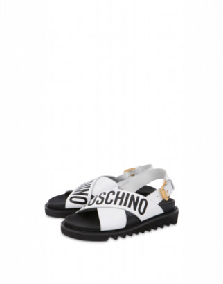Moschino Calfskin Sandals With Logo Woman White Size 35 It - (5 Us)