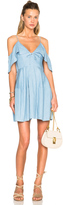 Nicholas Chambray Deep V Off Shoulder Dress