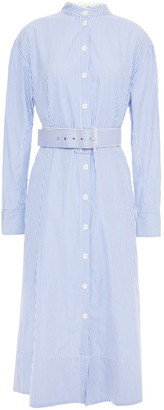 Tibi Belted Striped Cotton-poplin Midi Shirt Dress