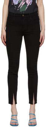 Frame Black Le High Skinny Front Split Jeans