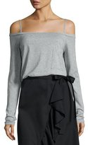 Robert Rodriguez Knit Cold-Shoulder Long-Sleeve Tee