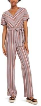 Crystal Doll Juniors' Multi-Stripe Kimono-Sleeve Jumpsuit