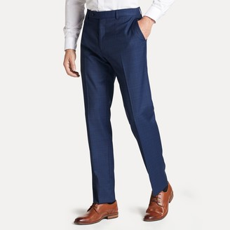 Tommy Hilfiger Regular Fit Suit Pant In Blue Plaid
