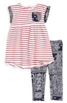 Nordstrom Stripe Dress & Leggings Set (Baby Girls)