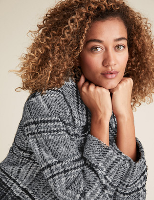 Marks and Spencer Checked Double Breasted Coat with Wool