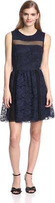 ABS by Allen Schwartz Women's Lace Dress w/Mesh Contrast Navy 10