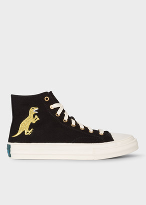 Paul Smith Women's Black Canvas 'Kirk' Trainers With Embroidered Gold 'Dino'