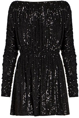Saint Laurent Sequin Blouson Mini Dress