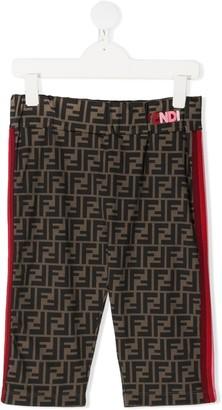 Fendi Kids TEEN Zucca print stripe shorts