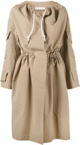 Marni collarless drawstring trench coat