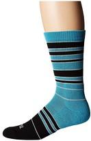 Thorlos Thorlo Stripes Thin Cushion Crew Single Pair (Turquoise/Black) Crew Cut Socks Shoes