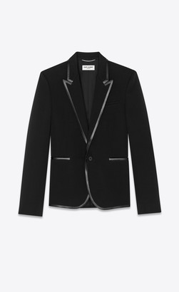 Saint Laurent Blazer Jacket Tailored Jacket In Serge Wool Gabardine And Leather Black 34