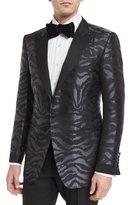 Tom Ford O'Connor Base Tonal Zebra-Print Silk Sport Jacket, Black