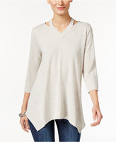 Style&Co. Style & Co. Cutout Handkerchief-Hem Tunic, Only at Macy's