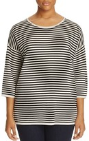 Eileen Fisher Plus Striped Three-Quarter Sleeve Sweater