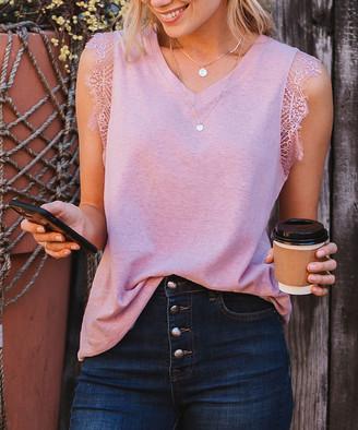 Amaryllis Women's Tee Shirts MAUVE - Mauve Lace-Trim V-Neck Top - Women & Plus