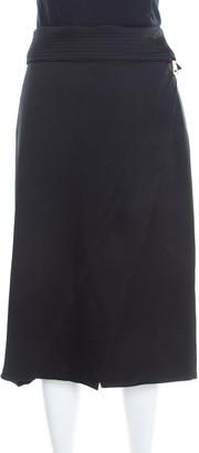 Gianfranco Ferre Black Draped Satin Foldover Waist Zip Detail Skirt L