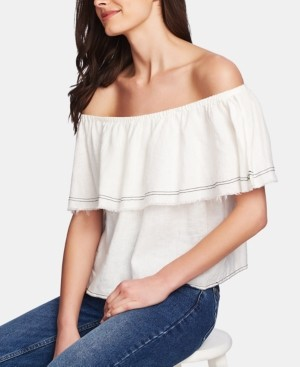 1 STATE Ruffled Off-The-Shoulder Linen Top