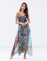 Camilla Overlay V-Neck Long Dress