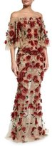 Marchesa Off-the-Shoulder Bell-Sleeve Feather Gown, Red
