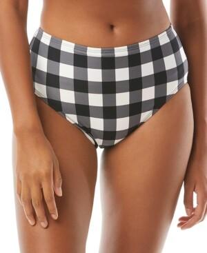 Kate Spade Plaid High-Waist Bikini Bottoms Women's Swimsuit
