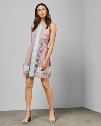 Ted Baker Contrast Paneling Pleated Dress