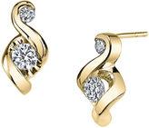 Sirena Juno Lucina 1/5 CT. T.W. Diamond 14K Yellow Gold Swirl Stud Earrings