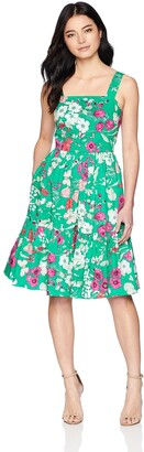 Brinker & Eliza Women's Petite Floral Sleeveless Fit and Flare Dress