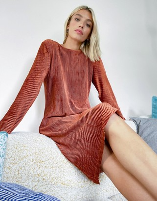 B.young pleated shift dress in copper