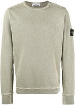 Stone Island Green Crew neck Logo Patch Sweatshirt - men - Cotton - M