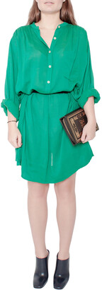 Isabel Marant Etoile Emerald Green Cotton Blend Belted Iban Shirt Dress S