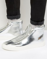 Asos Zip Trainers In Silver Metallic With Chunky Sole