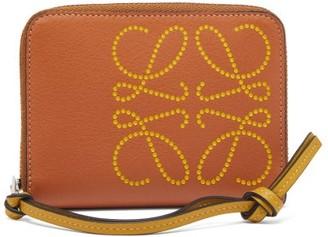 Loewe Perforated-logo Leather Wallet - Womens - Tan Multi
