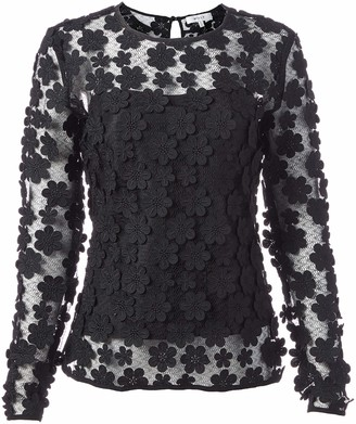 Milly Women's Floral Applique Long Sleeve Tee
