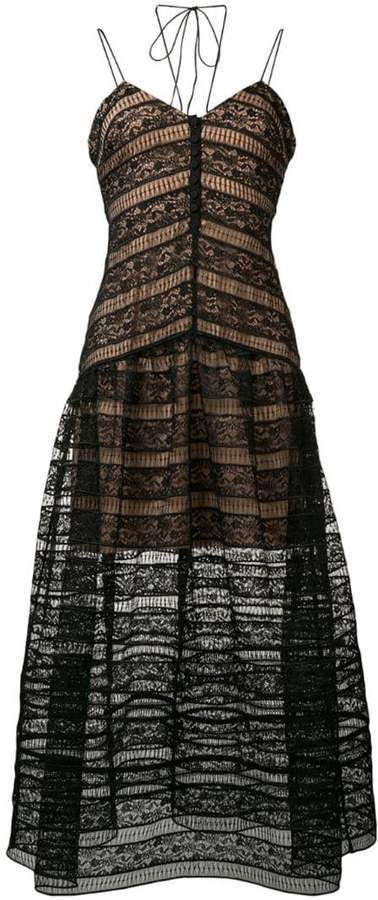 Self-Portrait lace embroidered flared dress